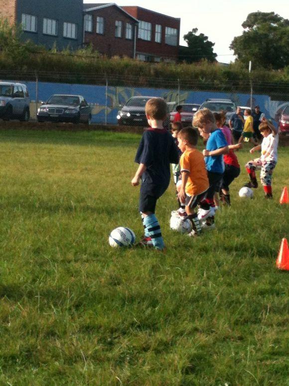 Edward practising soccer